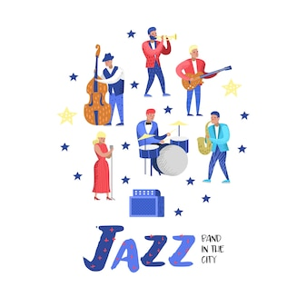 Jazz music characters set