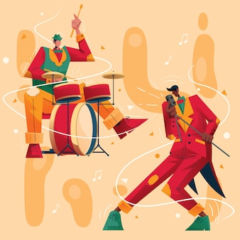 Jazz music concert character  illustration drummer and vocalist
