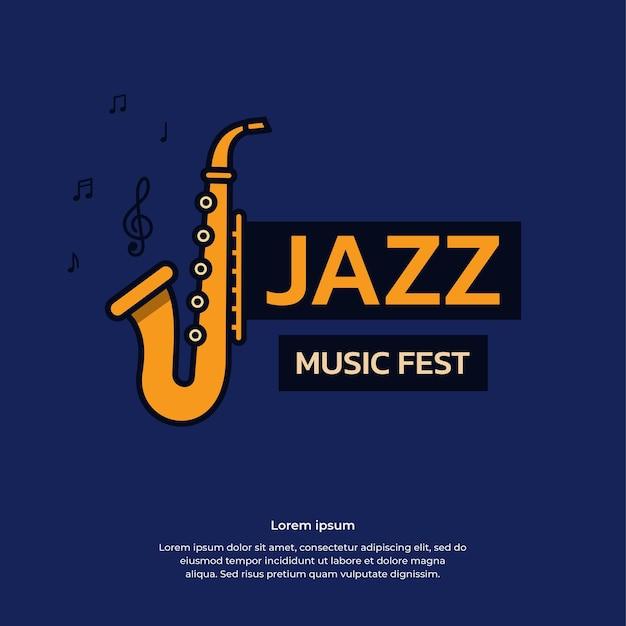 Jazz music fest banner vector design template