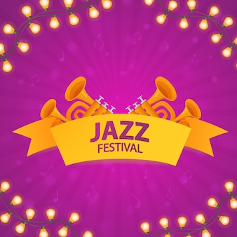 Jazz music festival. concept of music poster with trumpets. glowing garland