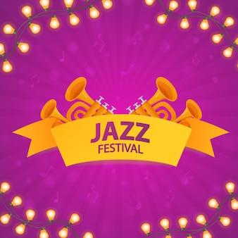 ジャズ音楽祭。トランペットと音楽ポスターのコンセプト。輝く花輪