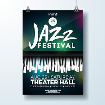 피아노 키보드와 재즈 음악 축제 전단지 디자인