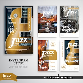 Jazz or music festival instagram stories banner template