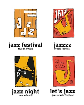 Jazz music festival logo set