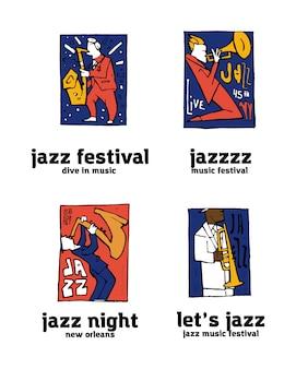 Jazz music festival logo set