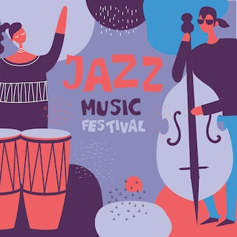 Плакат фестиваля джазовой музыки в плоском дизайне с музыкантами, играющими на музыкальных инструментах