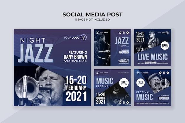 Шаблон сообщения в социальных сетях фестиваля джазовой музыки