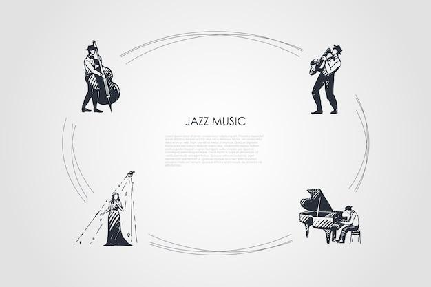 ジャズ音楽手描きのシクル