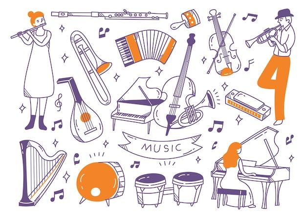 ジャズ音楽プレーヤーと楽器の落書き
