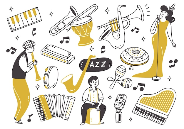 Jazz music player with instruments in doodle style