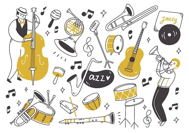 낙서 스타일의 악기와 재즈 음악 플레이어
