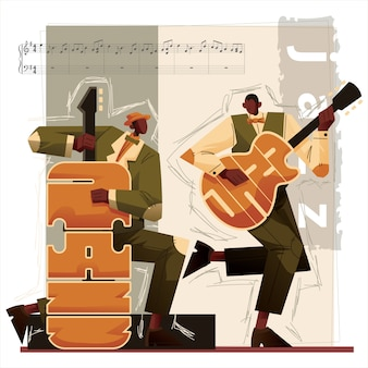 Jazz music players  illustration guitar and double bass