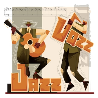 Jazz music players  illustration saxophone and guitar