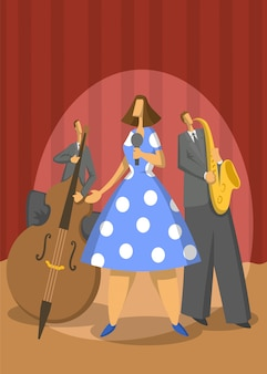 Jazz music trio. contrabassist, saxophonist and singer on stage. abstract  illustration.