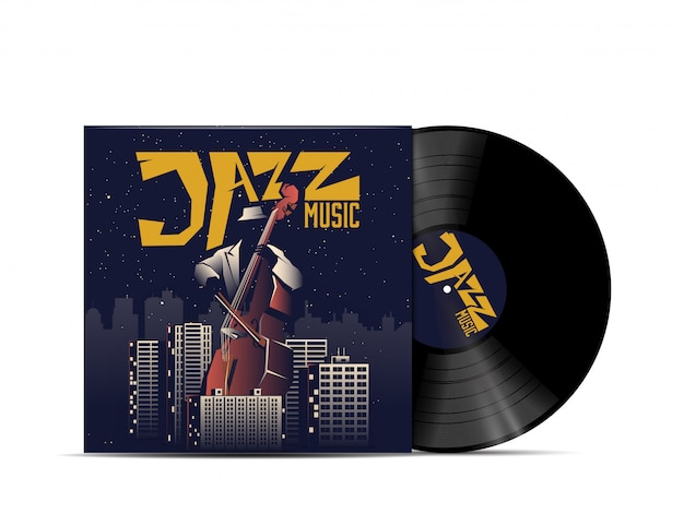 Jazz music vinyl disc cover. cover for your music playlist. isolated on white background. realistic illustration.