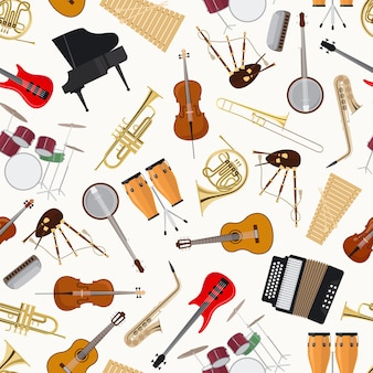 Jazz musical instruments on white background