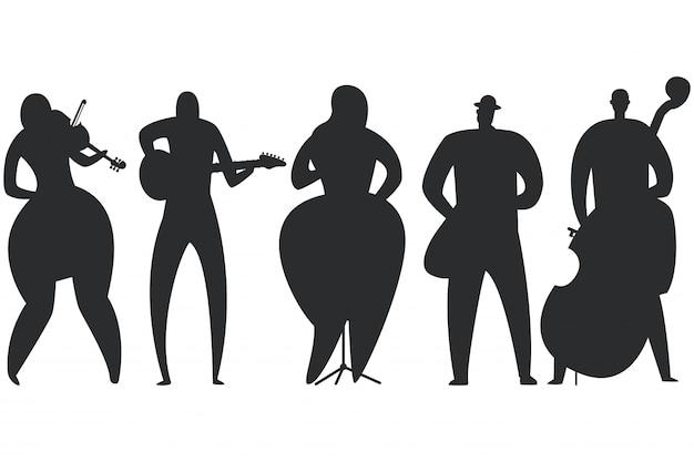 白い背景に分離されたジャズミュージシャン、歌手、ギタリスト、サックス奏者、コントラバスプレーヤー、バイオリニストの黒いシルエットセット。