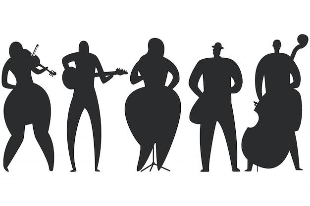 Jazz musicans, singer, guitarist, saxophonist, double bass player and violinist black silhouette set isolated on a white background.