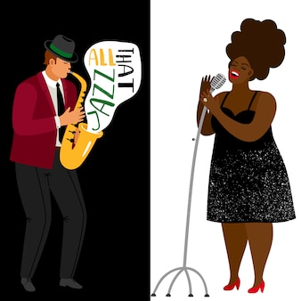 Jazz musician and afroamerican singer template