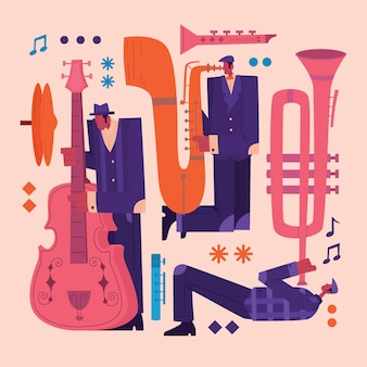 Jazz musicians character illustration set in retro style