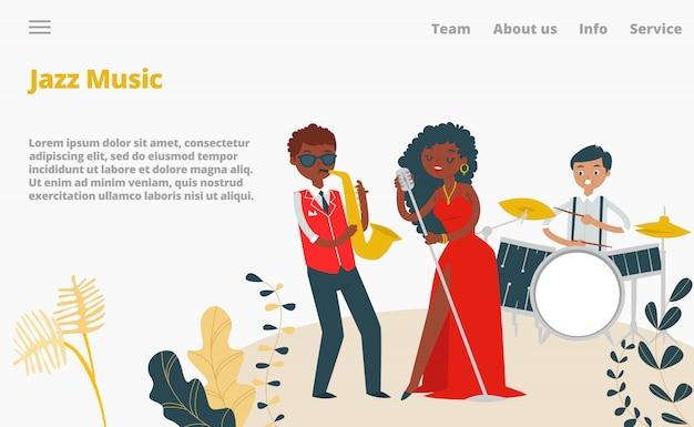 Джазовые музыканты, певица и джаз-бэнд концерт посадки страницы мультфильм иллюстрации. музыка, музыкальный инструмент саксофон и барабаны.