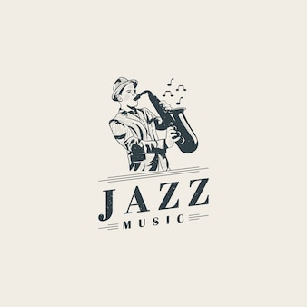 Jazz musicians playing saxophone logo template