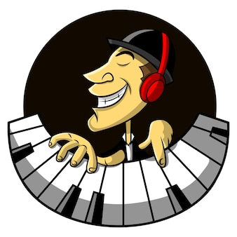The jazz musicians using earphone and playing piano cartoon