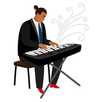 Jazz pianist plays on synthesizer cartoon character