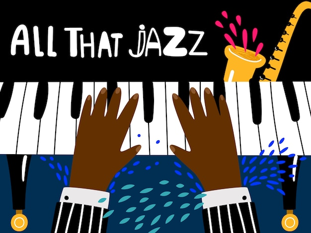 Jazz piano poster. blues and jazz rhythm musical art festival