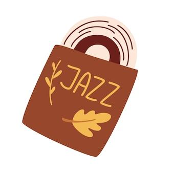 Джазовая пластинка. музыкальная виниловая пластинка в конверте. ретро стиль. музыкальный элемент. музыкальные векторные иллюстрации плоский значок и элемент. изолированные на белом фоне.