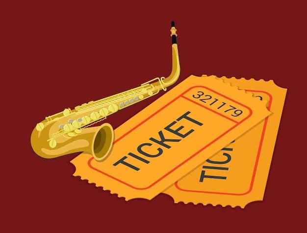 ジャズサックスサックスコンサートミュージックショー出席チケット予約フラットアイソメトリック