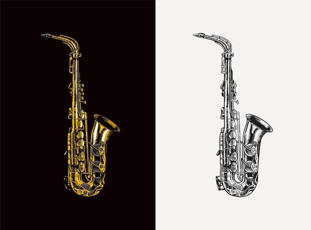 Jazz saxophone in monochrome engraved vintage style hand drawn trumpet sketch for blues and ragtime