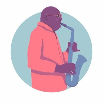 Джазовый саксофонист. для джазового плаката.