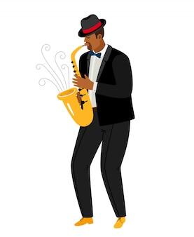 Джазовый саксофонист играет на саксофоне, изолированный на белом