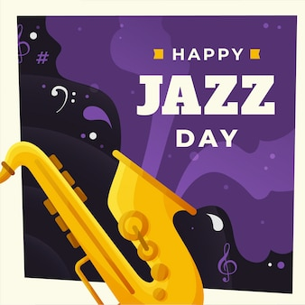 Jazz the soul music flat design