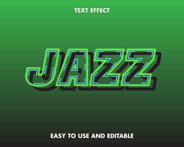Эффект джазового текста. легко использовать и редактировать. премиум векторные иллюстрации
