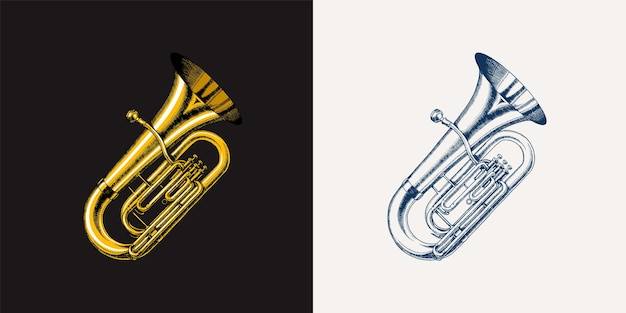 Jazz tuba in monochrome engraved vintage style hand drawn trumpet sketch for blues and ragtime
