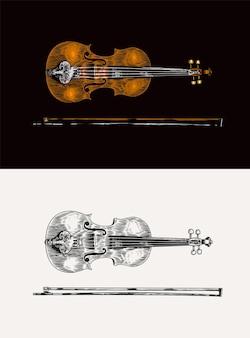 ブルースのためのモノクロの刻まれたビンテージスタイルの手描きのフィドルスケッチのジャズバイオリンと弓と