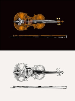 Jazz violin and bow in monochrome engraved vintage style hand drawn fiddle sketch for blues and