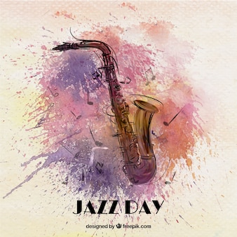 Jazz watercolor background with saxophone
