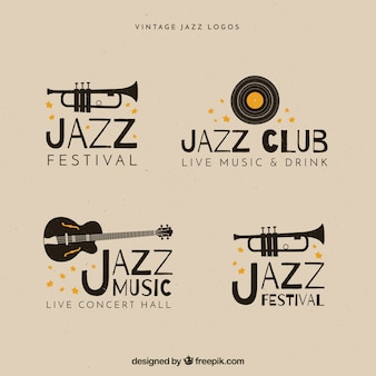 Коллекция логотипов jazz с винтажным стилем