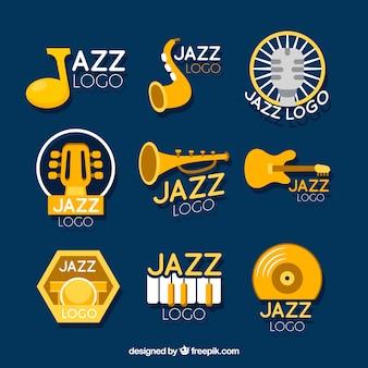 Коллекция логотипов jazz с плоским дизайном