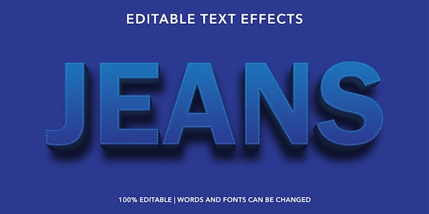 Jeans 3d style editable text effect