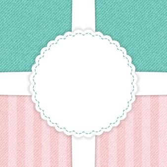 Джинсовая голубая и розовая открытка. векторная иллюстрация