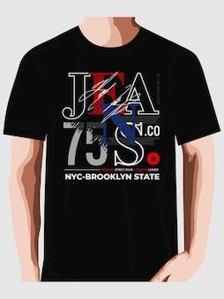 청바지 회사 뉴욕시 t 셔츠 디자인 인쇄 술 벡터 premium 벡터