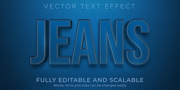 Jeans denim text effect editable blue and fashion style
