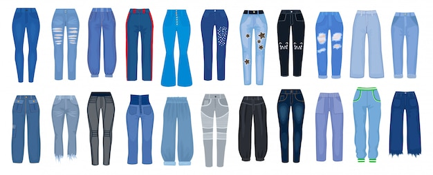 Джинсы штаны мультфильм установить значок. иллюстрация женщина брюки на белом фоне. изолированный тип значка шаржа установленный джинсов.