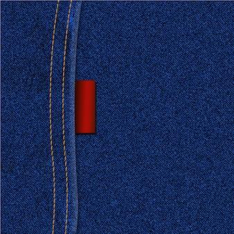 縫い目とラベルのジーンズテクスチャ背景
