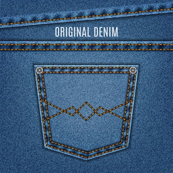 Jeans texture blue color with pocket and stitch. denim