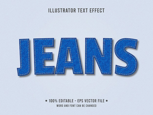 Jeans texture editable text effect